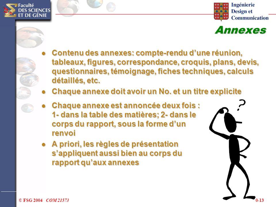 0-13© FSG 2004 COM 21573 Annexes Contenu des annexes: compte-rendu dune réunion, tableaux, figures, correspondance, croquis, plans, devis, questionnai