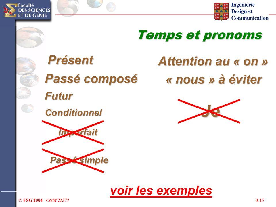 0-15© FSG 2004 COM 21573 Temps et pronoms Présent Passé composé Futur Conditionnel Passé simple Imparfait voir les exemplesJe « nous » à éviter Attent