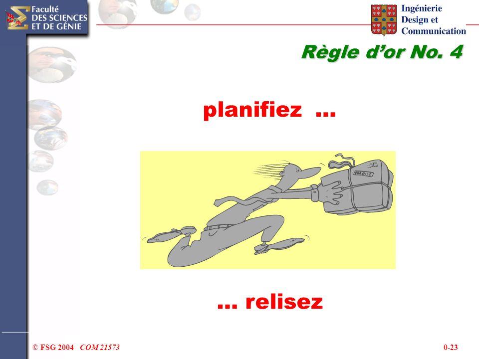0-23© FSG 2004 COM 21573 planifiez … Règle dor No. 4 … relisez