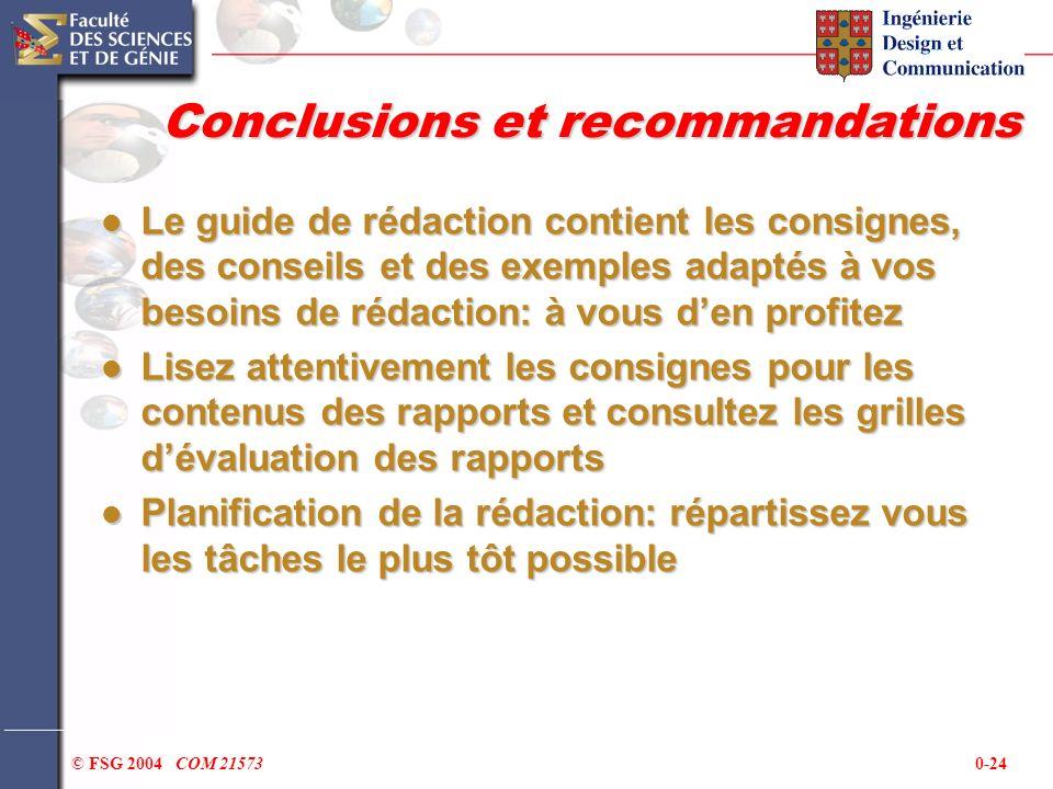 0-24© FSG 2004 COM 21573 Conclusions et recommandations Le guide de rédaction contient les consignes, des conseils et des exemples adaptés à vos besoi