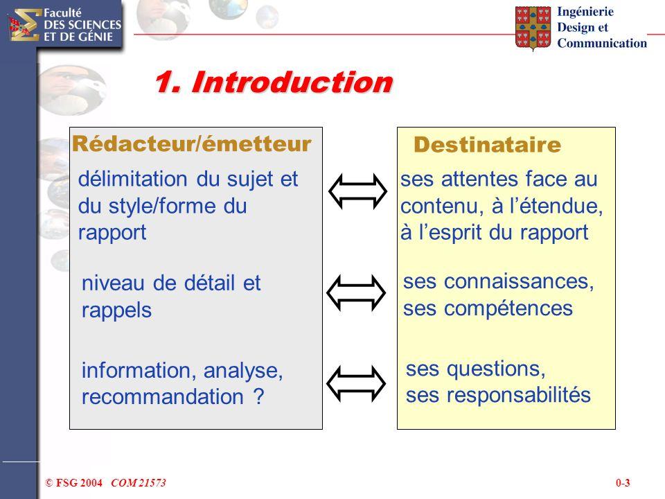 0-3© FSG 2004 COM 21573 1. Introduction Destinataire Rédacteur/émetteur ses attentes face au contenu, à létendue, à lesprit du rapport délimitation du