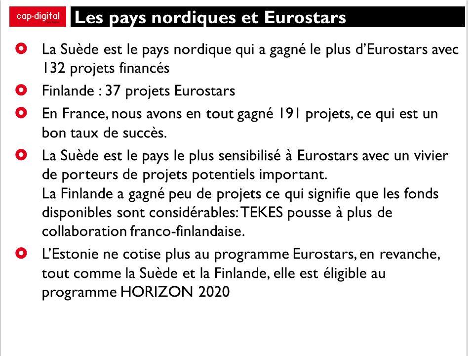 Les pays nordiques et Eurostars La Suède est le pays nordique qui a gagné le plus dEurostars avec 132 projets financés Finlande : 37 projets Eurostars En France, nous avons en tout gagné 191 projets, ce qui est un bon taux de succès.