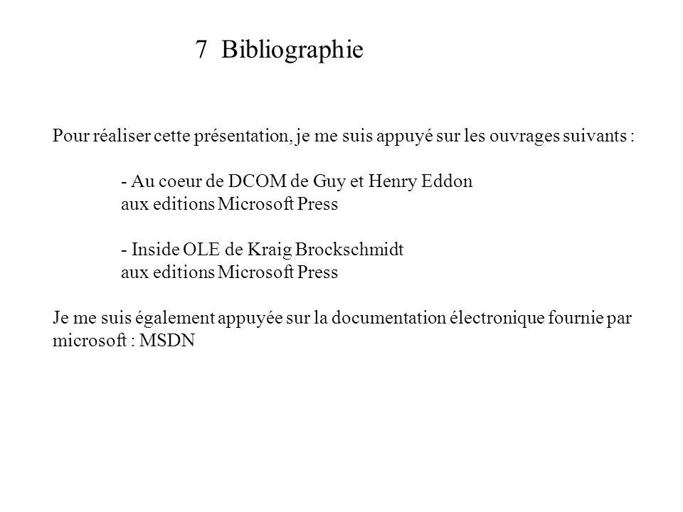 7 Bibliographie Pour réaliser cette présentation, je me suis appuyé sur les ouvrages suivants : - Au coeur de DCOM de Guy et Henry Eddon aux editions