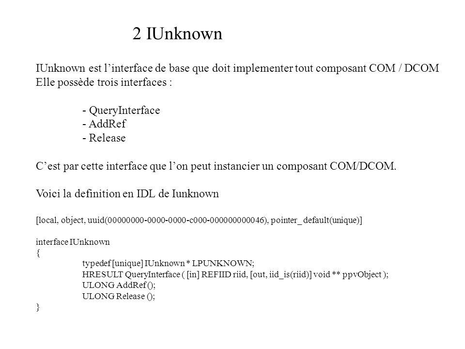 2 IUnknown IUnknown est linterface de base que doit implementer tout composant COM / DCOM Elle possède trois interfaces : - QueryInterface - AddRef - Release Cest par cette interface que lon peut instancier un composant COM/DCOM.