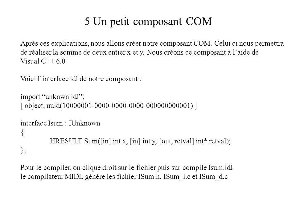 5 Un petit composant COM Après ces explications, nous allons créer notre composant COM. Celui ci nous permettra de réaliser la somme de deux entier x
