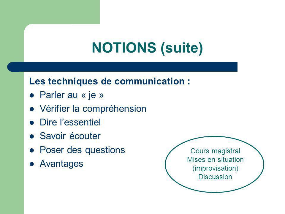 NOTIONS (suite) Les techniques de communication : Parler au « je » Vérifier la compréhension Dire lessentiel Savoir écouter Poser des questions Avanta