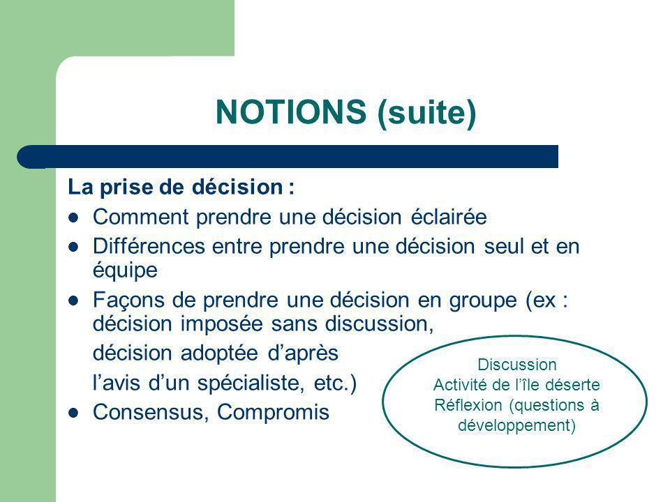NOTIONS (suite) La prise de décision : Comment prendre une décision éclairée Différences entre prendre une décision seul et en équipe Façons de prendr