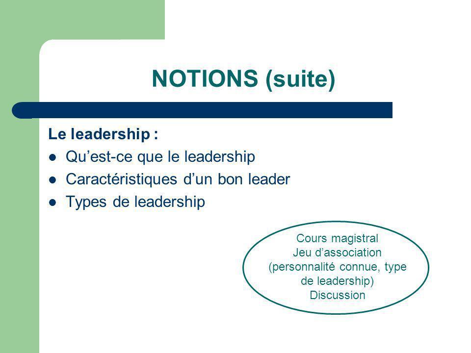 NOTIONS (suite) Le leadership : Quest-ce que le leadership Caractéristiques dun bon leader Types de leadership Cours magistral Jeu dassociation (perso