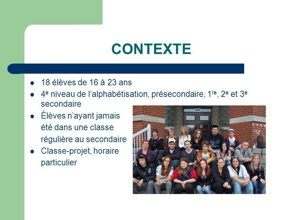 CONTEXTE 18 élèves de 16 à 23 ans 4 e niveau de lalphabétisation, présecondaire, 1 re, 2 e et 3 e secondaire Élèves nayant jamais été dans une classe