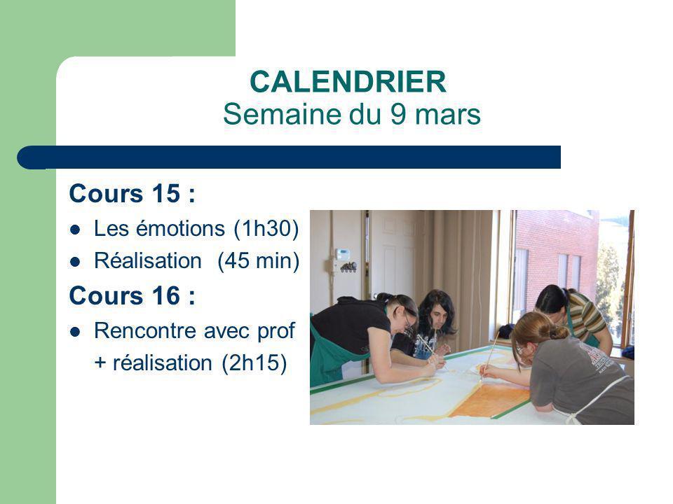CALENDRIER Semaine du 9 mars Cours 15 : Les émotions (1h30) Réalisation (45 min) Cours 16 : Rencontre avec prof + réalisation (2h15)