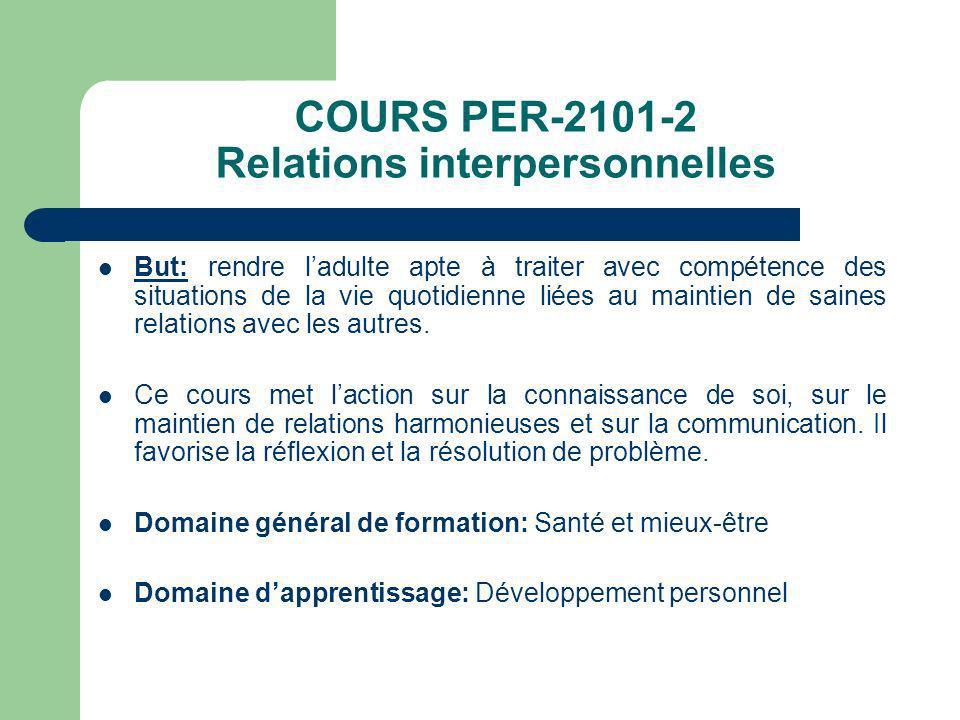 COURS PER-2101-2 Relations interpersonnelles But: rendre ladulte apte à traiter avec compétence des situations de la vie quotidienne liées au maintien