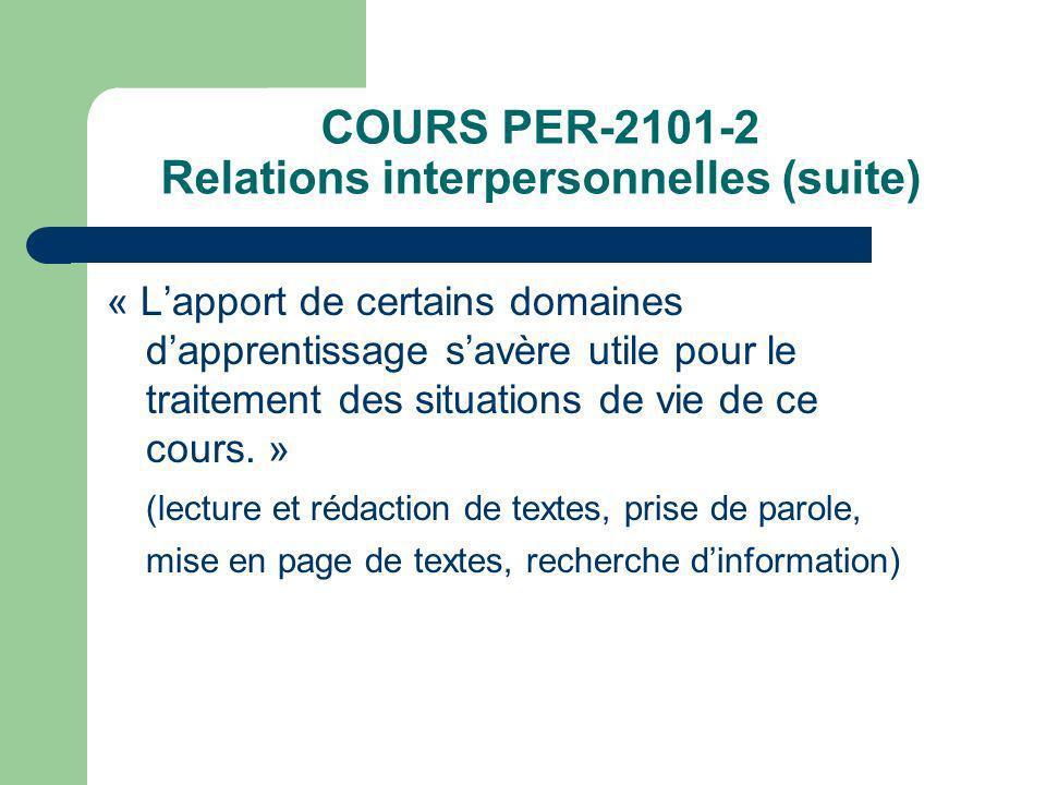 COURS PER-2101-2 Relations interpersonnelles (suite) « Lapport de certains domaines dapprentissage savère utile pour le traitement des situations de v