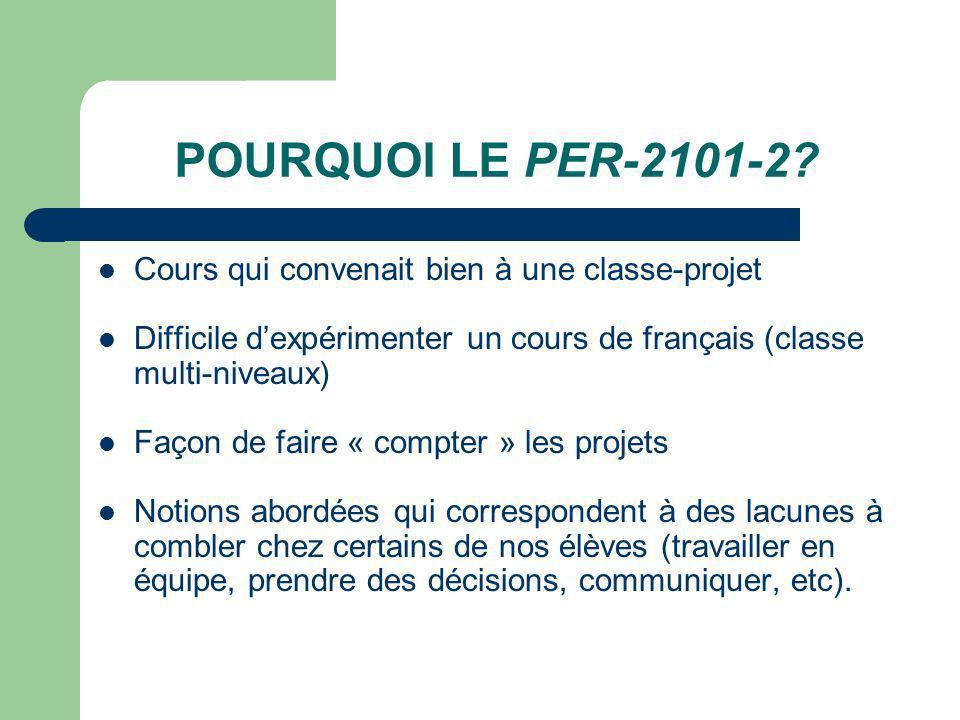 POURQUOI LE PER-2101-2? Cours qui convenait bien à une classe-projet Difficile dexpérimenter un cours de français (classe multi-niveaux) Façon de fair