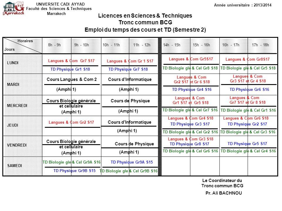 UNIVERSITE CADI AYYAD Faculté des Sciences & Techniques Marrakech Année universitaire : 2013/2014 Licences enSciences & Techniques Tronc commun BCG Emploi du temps des Travaux pratiques (Semestre 2) Horaires Jours LUNDI MARDI MERCREDI JEUDI VENDREDI SAMEDI 8h- 9h - 10h - 11h - 12h 14h- 15h - 16h - 17h - 18h Le Coordinateur du Tronc commun BCG Pr.