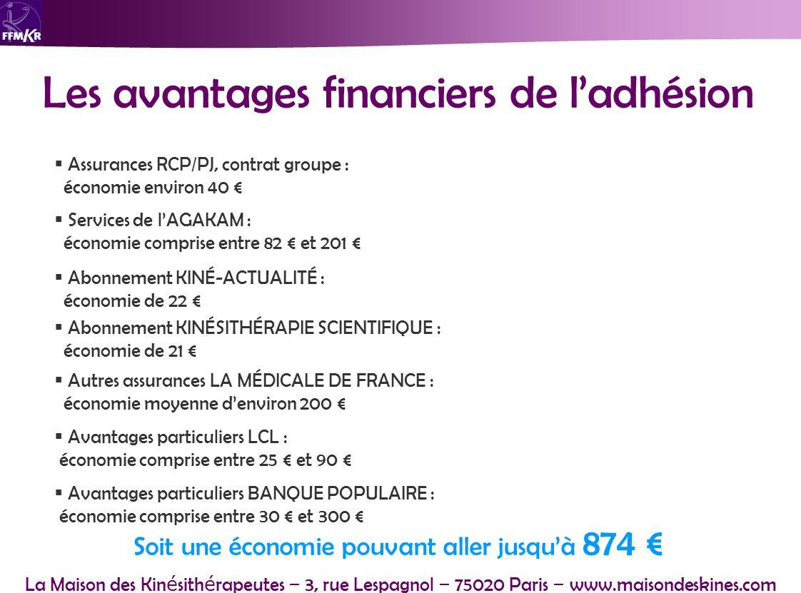 La Maison des Kin é sith é rapeutes – 3, rue Lespagnol – 75020 Paris – www.maisondeskines.com Les avantages financiers de ladhésion Avantages particul