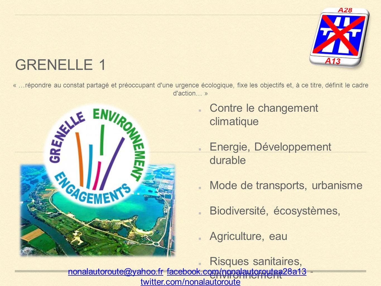 GRENELLE 1 Contre le changement climatique Energie, Développement durable Mode de transports, urbanisme Biodiversité, écosystèmes, Agriculture, eau Risques sanitaires, environnement nonalautoroute@yahoo.frnonalautoroute@yahoo.fr facebook.com/nonalautoroutea28a13 - twitter.com/nonalautoroutefacebook.com/nonalautoroutea28a13 twitter.com/nonalautoroute « …répondre au constat partagé et préoccupant d une urgence écologique, fixe les objectifs et, à ce titre, définit le cadre d action… »