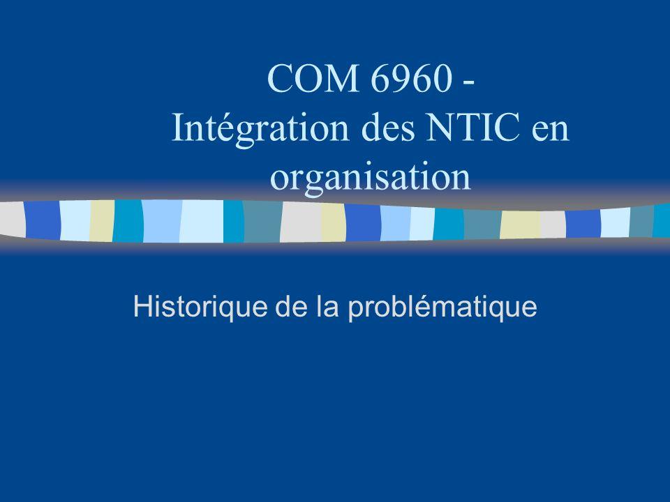 Historique n cest nouveau - TICs en organisation depuis environ 40 ans n résultats contradictoires dans la littérature ( cf.