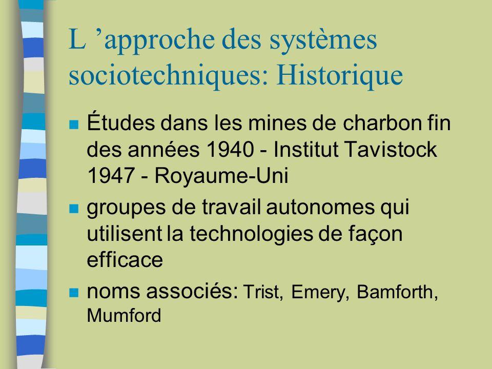 L approche des systèmes sociotechniques: Historique n Études dans les mines de charbon fin des années 1940 - Institut Tavistock 1947 - Royaume-Uni n g