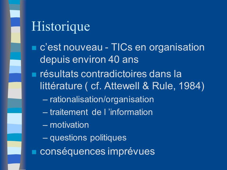 Historique n cest nouveau - TICs en organisation depuis environ 40 ans n résultats contradictoires dans la littérature ( cf. Attewell & Rule, 1984) –r