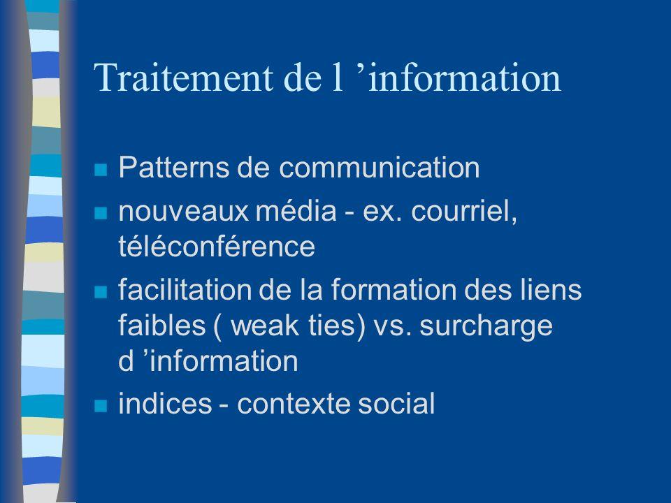 Traitement de l information n Patterns de communication n nouveaux média - ex. courriel, téléconférence n facilitation de la formation des liens faibl