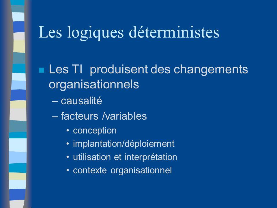 Les logiques déterministes n Les TI produisent des changements organisationnels –causalité –facteurs /variables conception implantation/déploiement ut