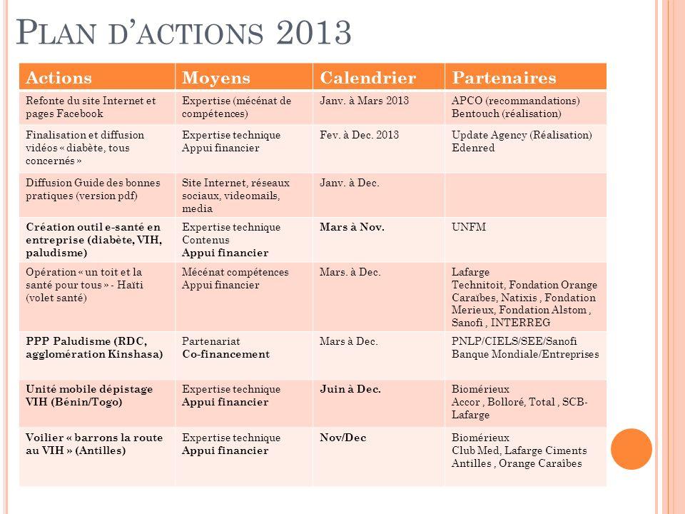 P LAN D ACTIONS 2013 ActionsMoyensCalendrierPartenaires Refonte du site Internet et pages Facebook Expertise (mécénat de compétences) Janv.