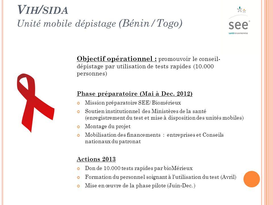 V IH / SIDA Unité mobile dépistage (Bénin/Togo) Objectif opérationnel : promouvoir le conseil- dépistage par utilisation de tests rapides (10.000 personnes) Phase préparatoire (Mai à Dec.