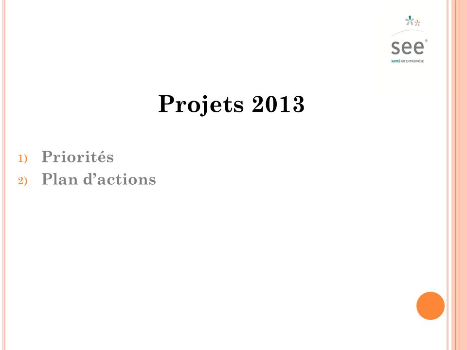 Projets 2013 1) Priorités 2) Plan dactions
