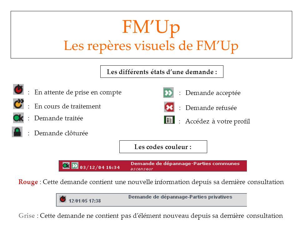 FMUp Les repères visuels de FMUp Les différents états dune demande : : En attente de prise en compte : En cours de traitement : Demande traitée : Dema