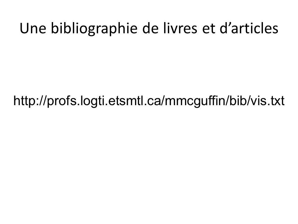 Une bibliographie de livres et darticles http://profs.logti.etsmtl.ca/mmcguffin/bib/vis.txt