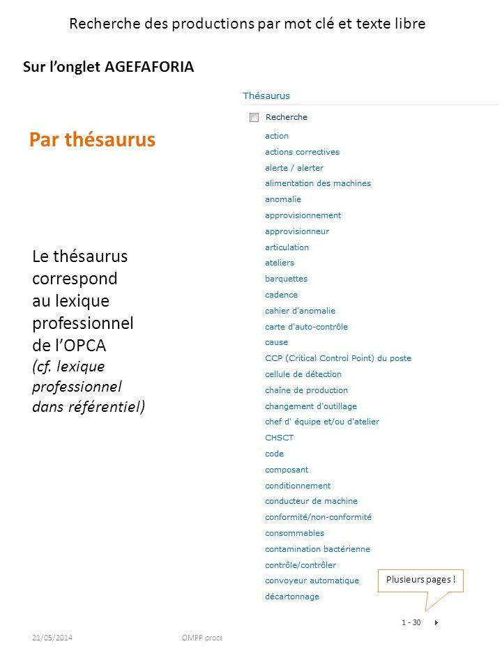 21/05/2014OMPP procédure daccès à la plateforme3 Recherche des productions par mot clé et texte libre Sur longlet AGEFAFORIA Par thésaurus Le thésauru
