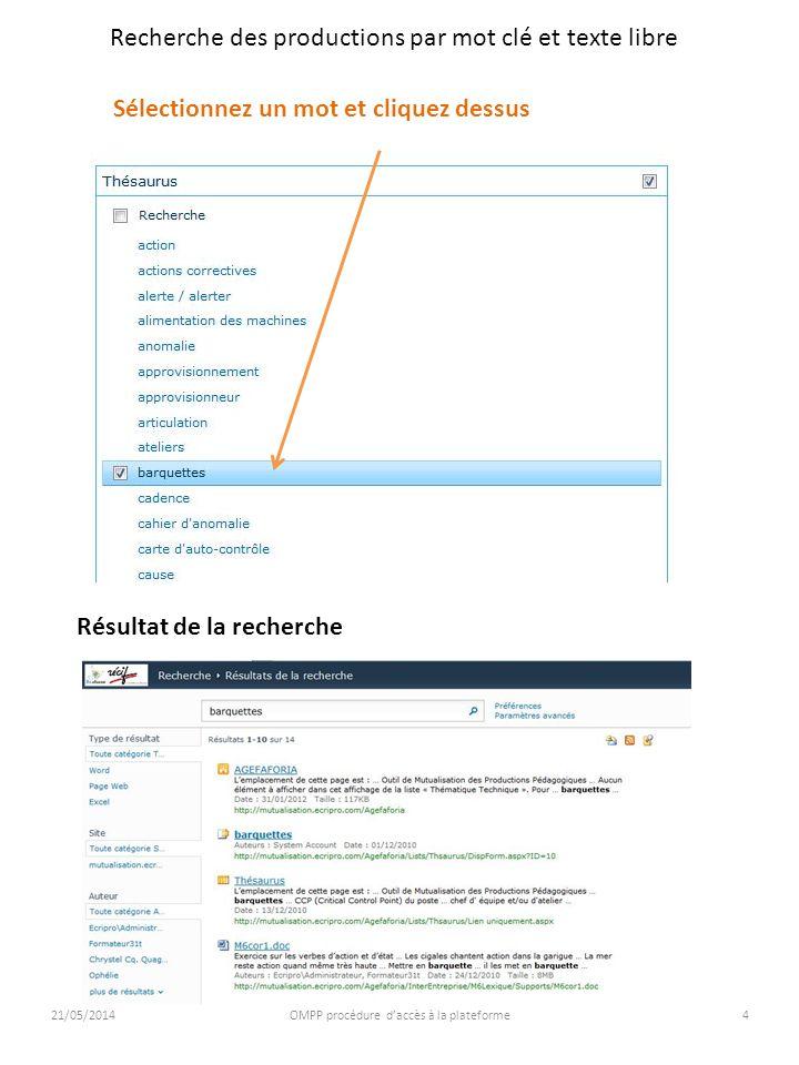 21/05/2014OMPP procédure daccès à la plateforme5 Recherche des productions par mot clé et texte libre Recherche par texte libre sur « Accueil » ou « AGEFAFORIA » Pour repasser du résultat de la recherche à laccueil utilisez la flèche de retour Indiquez le texte de la recherche et validez