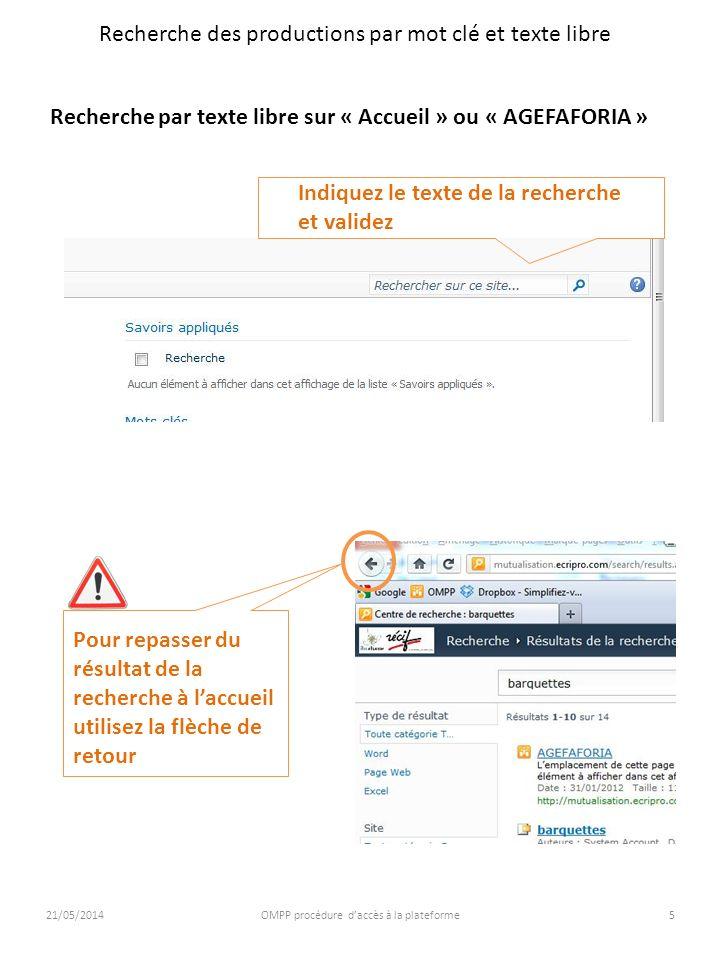 21/05/2014OMPP procédure daccès à la plateforme5 Recherche des productions par mot clé et texte libre Recherche par texte libre sur « Accueil » ou « A