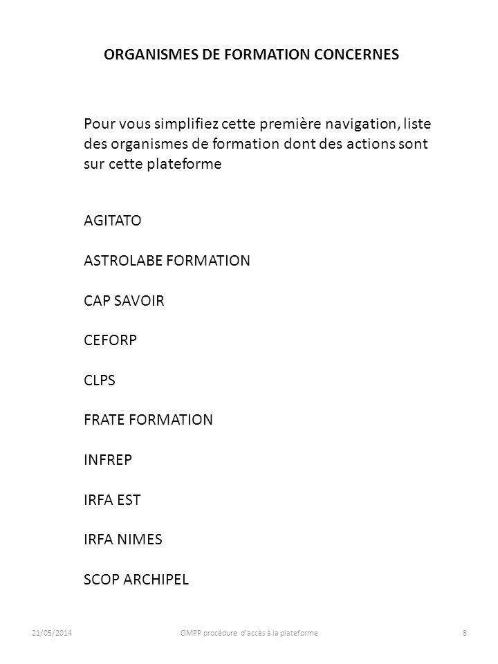 21/05/2014OMPP procédure daccès à la plateforme8 ORGANISMES DE FORMATION CONCERNES AGITATO ASTROLABE FORMATION CAP SAVOIR CEFORP CLPS FRATE FORMATION