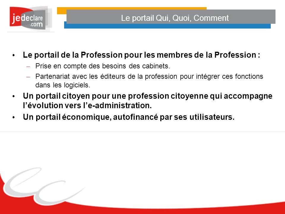 Le portail Qui, Quoi, Comment Le portail de la Profession pour les membres de la Profession : – Prise en compte des besoins des cabinets.