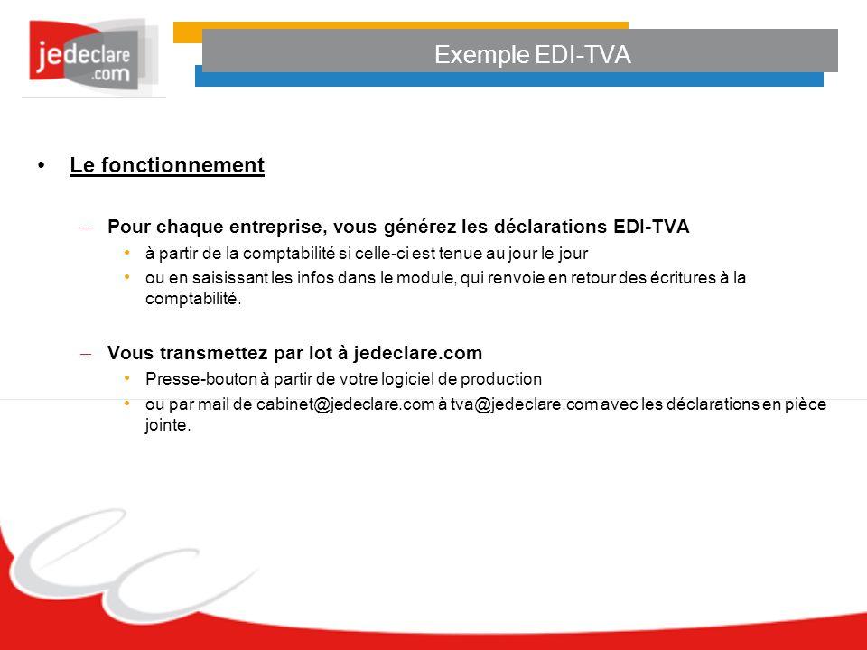 Exemple EDI-TVA Le fonctionnement – Pour chaque entreprise, vous générez les déclarations EDI-TVA à partir de la comptabilité si celle-ci est tenue au jour le jour ou en saisissant les infos dans le module, qui renvoie en retour des écritures à la comptabilité.