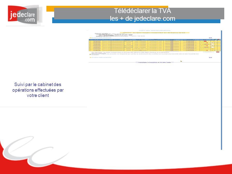 Télédéclarer la TVA les + de jedeclare.com Suivi par le cabinet des opérations effectuées par votre client