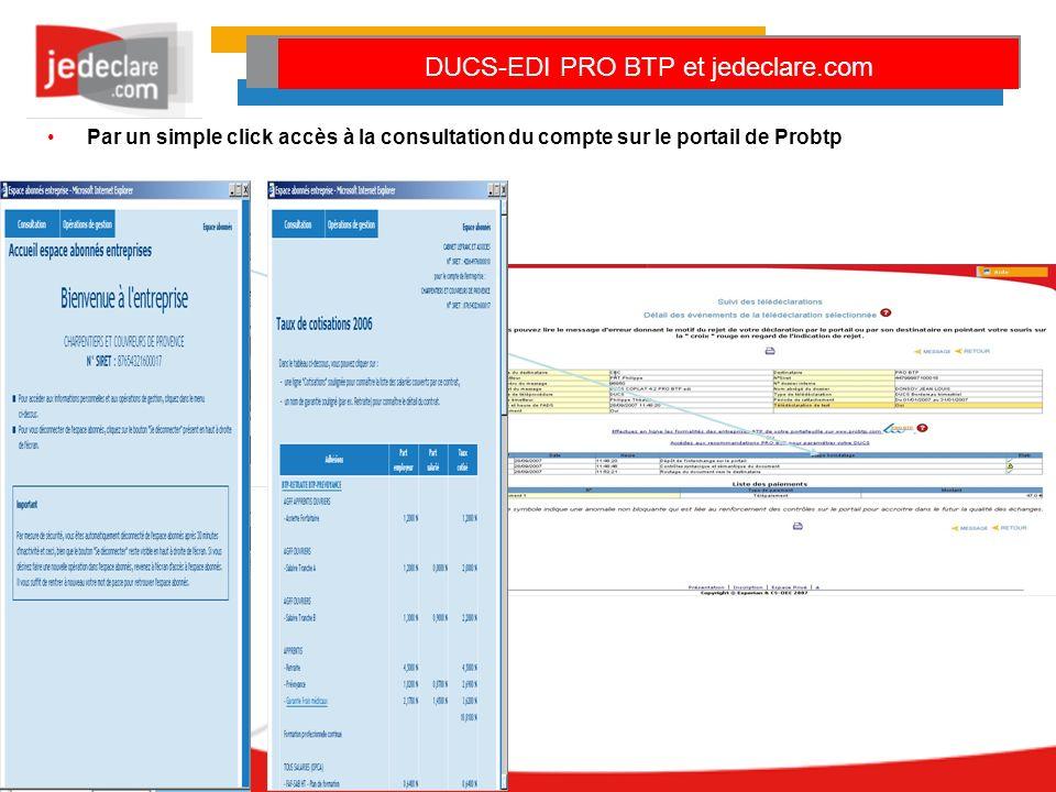 Par un simple click accès à la consultation du compte sur le portail de Probtp