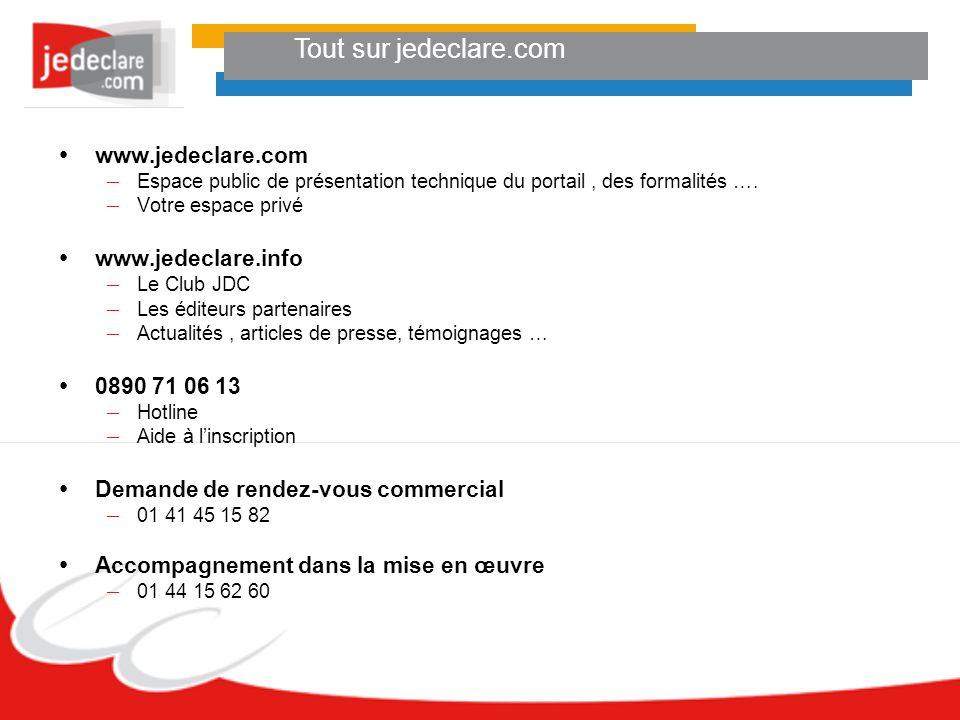 Tout sur jedeclare.com www.jedeclare.com – Espace public de présentation technique du portail, des formalités …. – Votre espace privé www.jedeclare.in
