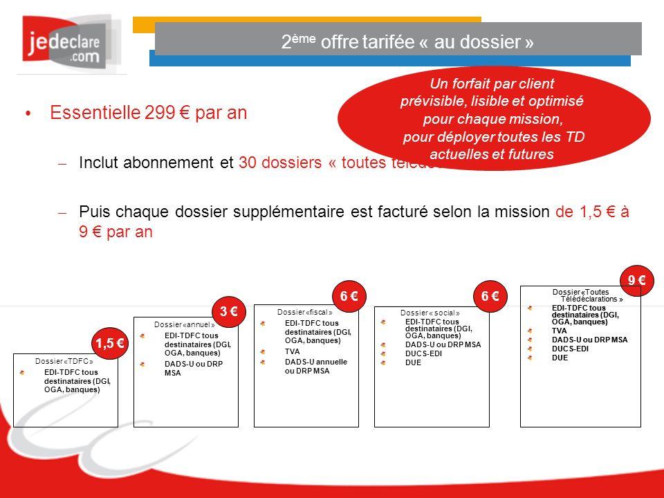 2 ème offre tarifée « au dossier » Essentielle 299 par an – Inclut abonnement et 30 dossiers « toutes télédéclarations » – Puis chaque dossier supplémentaire est facturé selon la mission de 1,5 à 9 par an Dossier « social » EDI-TDFC tous destinataires (DGI, OGA, banques) DADS-U ou DRP MSA DUCS-EDI DUE Dossier «fiscal » EDI-TDFC tous destinataires (DGI, OGA, banques) TVA DADS-U annuelle ou DRP MSA 6 Dossier «annuel » EDI-TDFC tous destinataires (DGI, OGA, banques) DADS-U ou DRP MSA Dossier «TDFC » EDI-TDFC tous destinataires (DGI, OGA, banques) 1,5 Dossier «Toutes Télédéclarations » EDI-TDFC tous destinataires (DGI, OGA, banques) TVA DADS-U ou DRP MSA DUCS-EDI DUE 9 6 3 Dossier «Toutes Télédéclarations » EDI-TDFC tous destinataires (DGI, OGA, banques) TVA DADS-U ou DRP MSA DUCS-EDI DUE Un forfait par client prévisible, lisible et optimisé pour chaque mission, pour déployer toutes les TD actuelles et futures