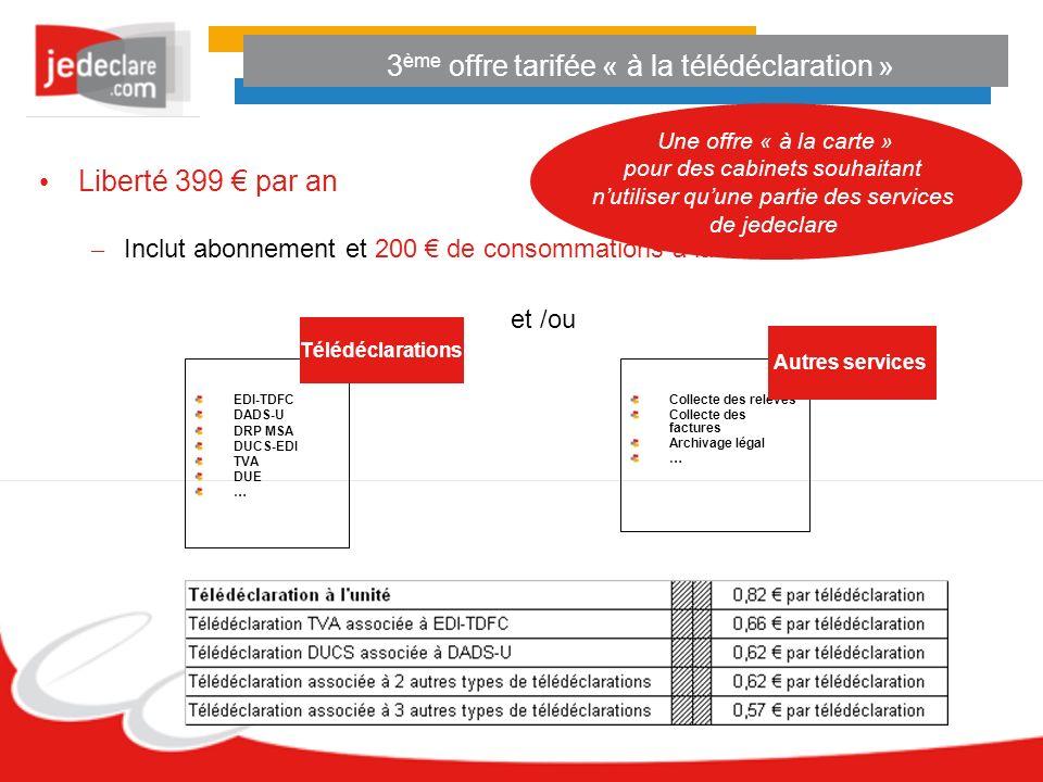 3 ème offre tarifée « à la télédéclaration » Liberté 399 par an – Inclut abonnement et 200 de consommations à la carte et /ou EDI-TDFC DADS-U DRP MSA