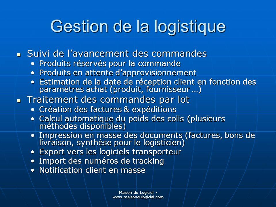 Maison du Logiciel - www.maisondulogiciel.com Gestion de la logistique Suivi de lavancement des commandes Suivi de lavancement des commandes Produits