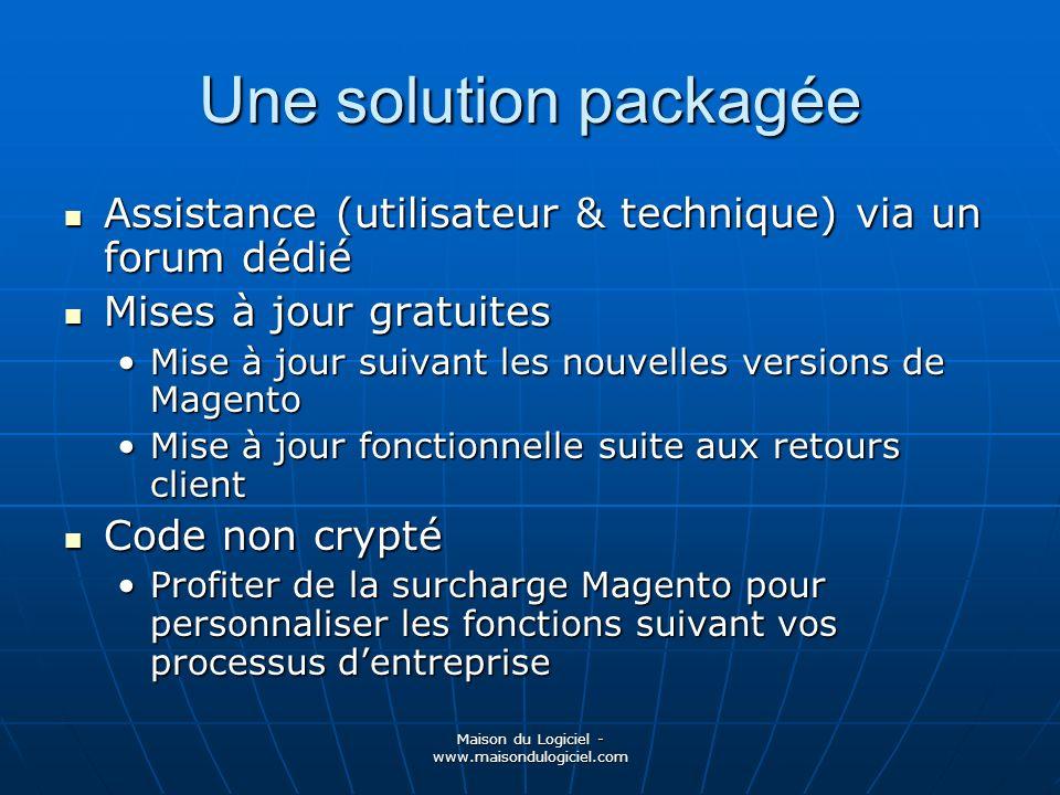 Maison du Logiciel - www.maisondulogiciel.com Une solution packagée Assistance (utilisateur & technique) via un forum dédié Assistance (utilisateur &