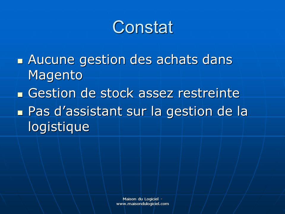 Maison du Logiciel - www.maisondulogiciel.com Constat Aucune gestion des achats dans Magento Aucune gestion des achats dans Magento Gestion de stock a