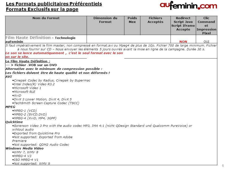 Nom du FormatDimension du Format Poids Max Fichiers Acceptés Redirect Script Java Script Iframe Accepte Clic Command et Impression Pixel Film Haute Dé