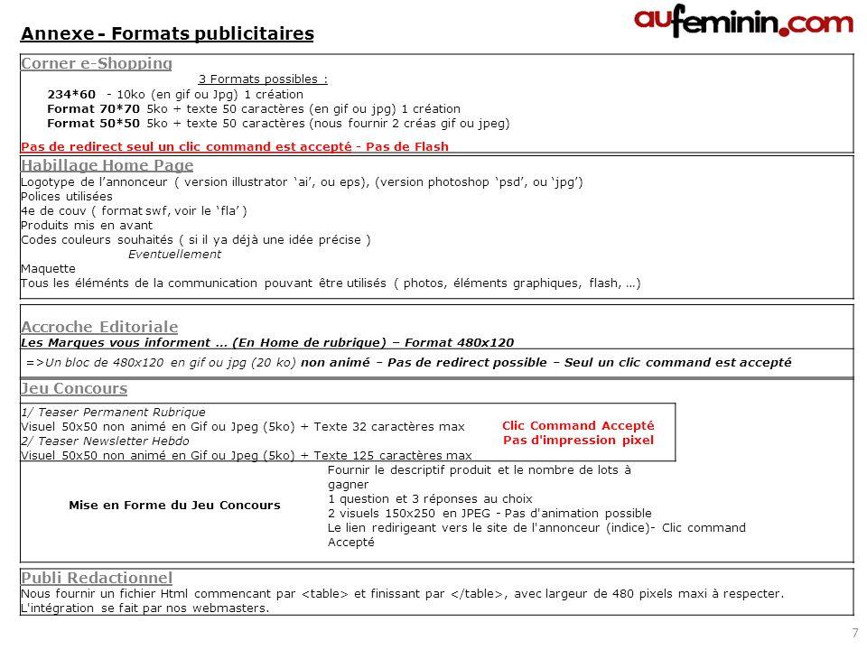Corner e-Shopping 3 Formats possibles : 234*60 - 10ko (en gif ou Jpg) 1 création Format 70*70 5ko + texte 50 caractères (en gif ou jpg) 1 création For