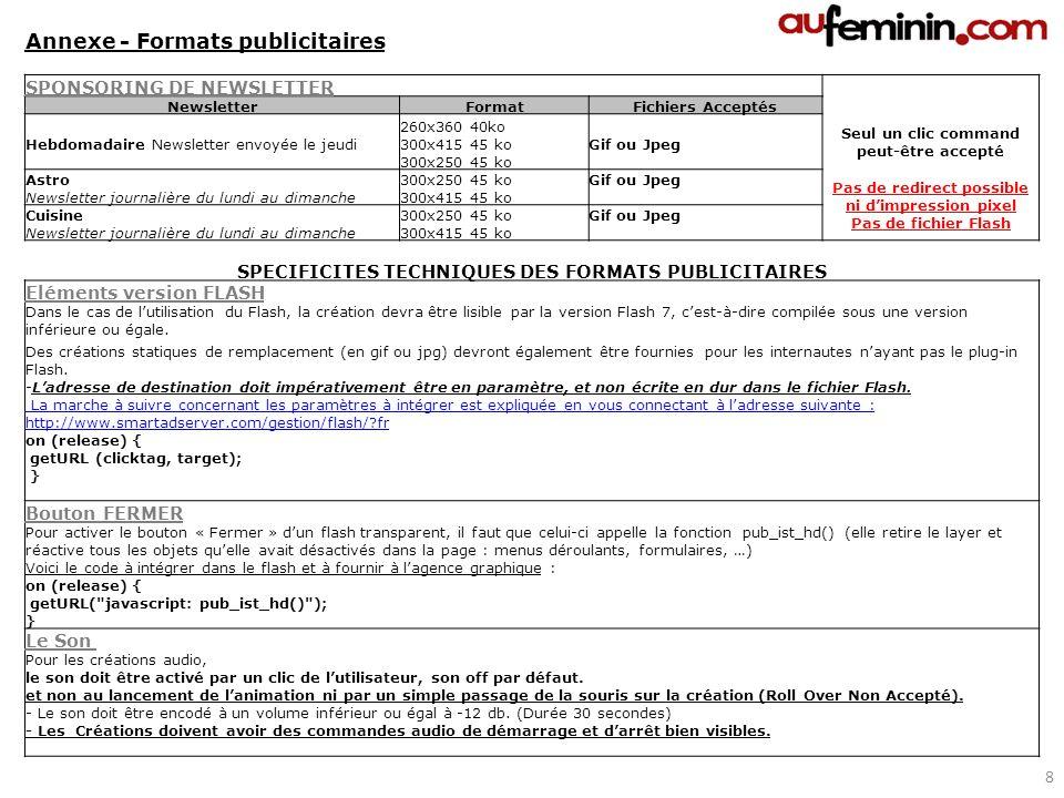 SPONSORING DE NEWSLETTER NewsletterFormatFichiers Acceptés 260x360 40ko Seul un clic command peut-être accepté Hebdomadaire Newsletter envoyée le jeud