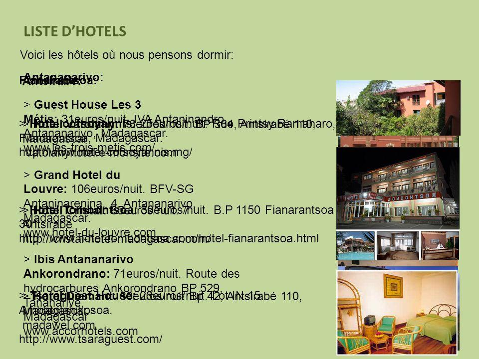 Antsirabe: > Hotel Vatolahy: 76euros/nuit. BP 364, Antsirabé 110, Madagascar vatolahyhotel.e-monsite.com > Hotel Cristal: 85euros/nuit. 7 Antsirabe ht