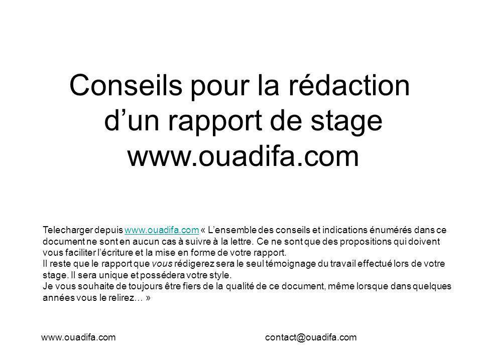 Telecharger depuis www.ouadifa.com « Lensemble des conseils et indications énumérés dans ce document ne sont en aucun cas à suivre à la lettre. Ce ne