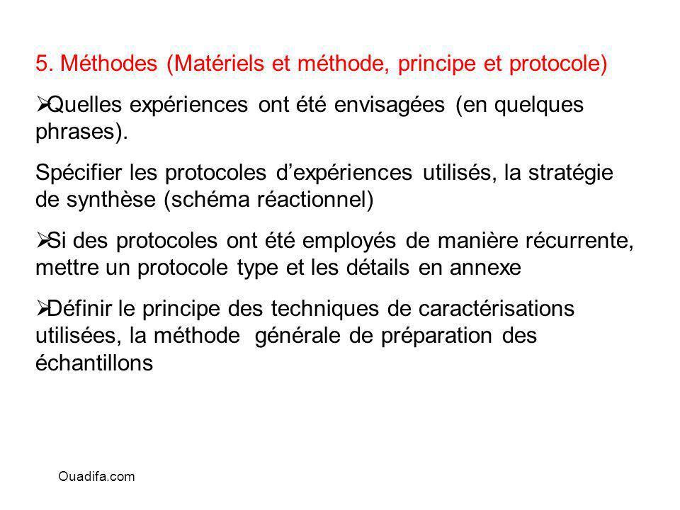 5. Méthodes (Matériels et méthode, principe et protocole) Quelles expériences ont été envisagées (en quelques phrases). Spécifier les protocoles dexpé